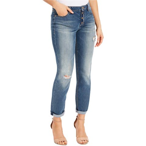 Vintage America Womens Bestie Relaxed Fit Jeans, Blue, 4