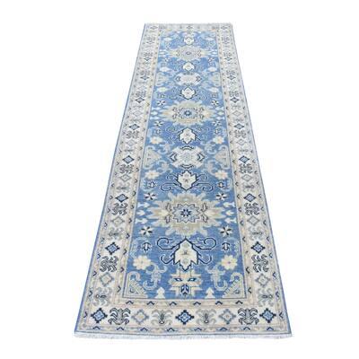 "Shahbanu Rugs Blue Vintage Look Kazak Pure Wool Tribal Design Hand Knotted Runner Oriental Rug (2'7"" x 9'9"") - 2'7"" x 9'9"""
