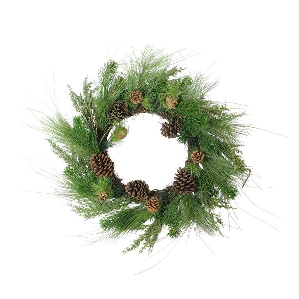 """24"""" Pine Cones and Mixed Pine Needles Christmas Wreath - Unlit - green"""