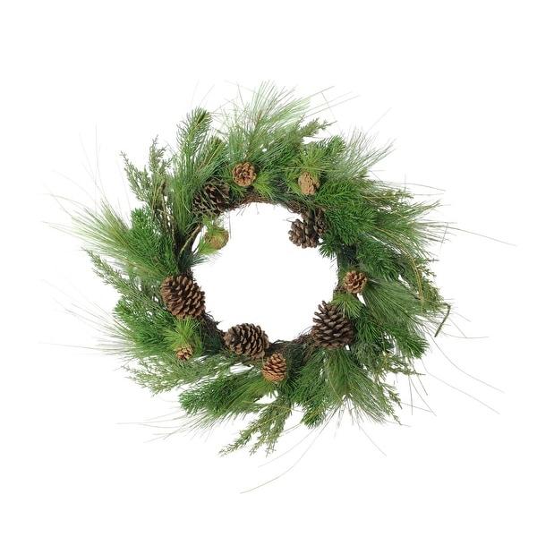 "24"" Pine Cones and Mixed Pine Needles Christmas Wreath - Unlit"