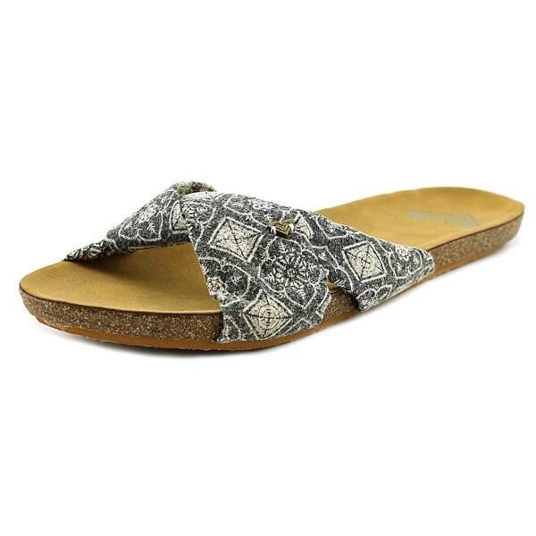 Roxy Leya Women  Open Toe Canvas Black Slides Sandal