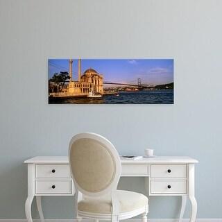 Easy Art Prints Panoramic Image 'Mosque at waterfront, Ortakoy Mosque, Bosphorus Bridge, Istanbul, Turkey' Canvas Art