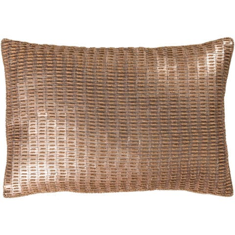 Argentum Metallic Champagne Feather Down or Poly Filled Throw Pillow 13 inch x 19 inch