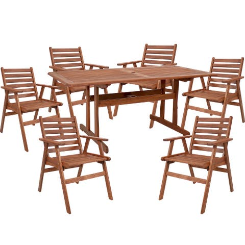 Sunnydaze 7-Piece Meranti Wood 6-Foot Dining Table with Chairs