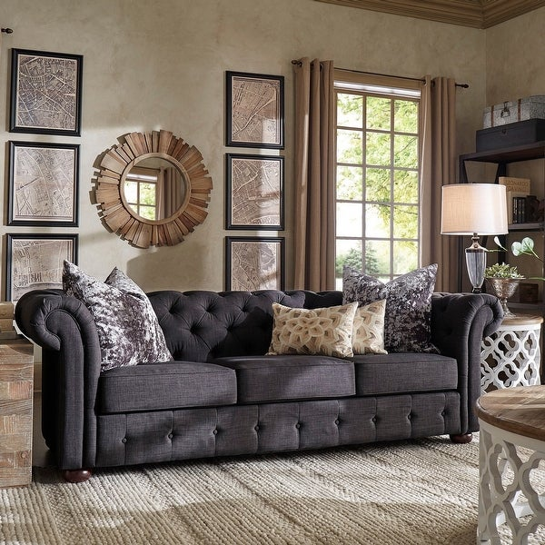 Knightsbridge Tufted Scroll Arm Chesterfield Sofa by iNSPIRE Q Artisan. Opens flyout.