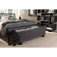 Hannah Dark Grey Fabric Upholstered Button-Tufting Storage Ottoman Bench