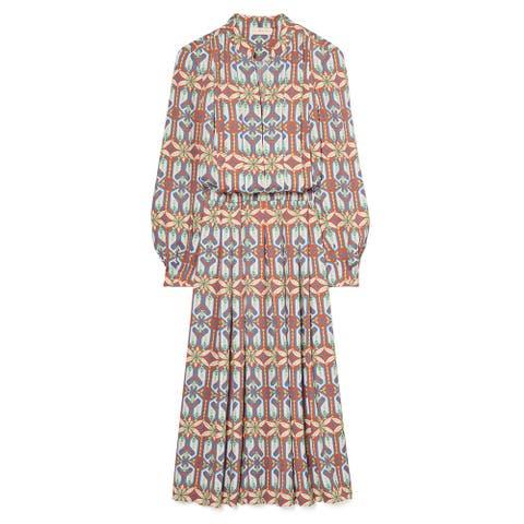 Tory Burch Womens Garden Maze Pleated Geometric Print Shirt Dress