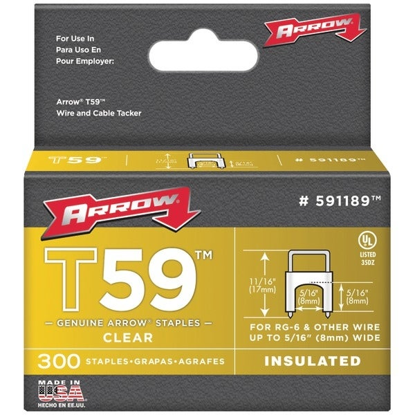 "Arrow Fastener 591189 Clear T59 Insulated Staples For Rg59 Quad & Rg6, 5/16"" X 5/16"", 300 Pk"