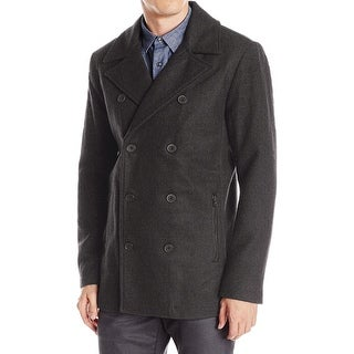 Kenneth Cole Reaction NEW Gray Men Large L Double-Breasted Wool Peacoat