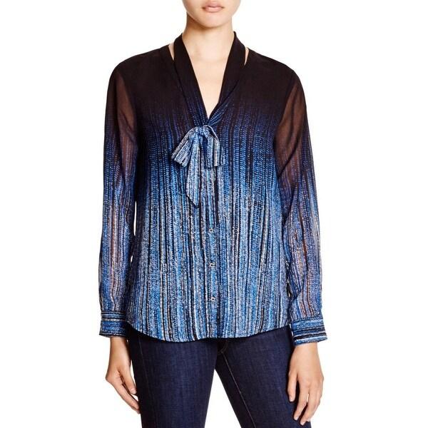 Calvin Klein Womens Button-Down Top Chiffon Printed
