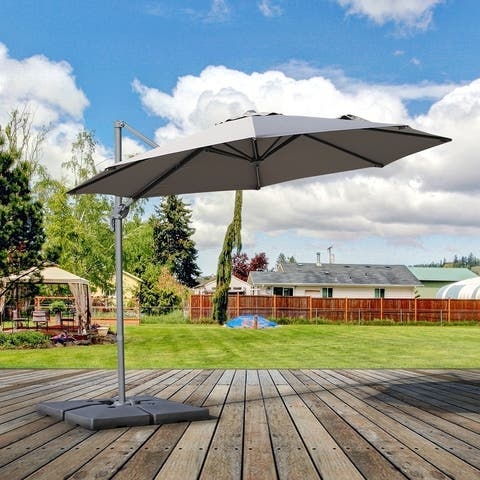 Outsunny 10' Hanging Tilt Offset Cantilever Patio Umbrella with Base Stand UV Fade Fighting Canopy & 360 Rotation Grey