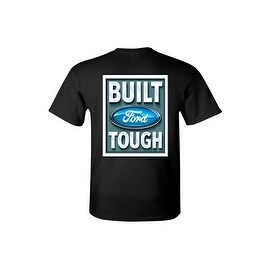 Men's T-Shirt Ford Built Tough Racing Trucks Cars SUV Vintage Repair Shop Tee Front & Back Print