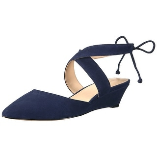 Nine West Womens Elira Suede Pointed Toe Ankle Strap Wedge Pumps Navy Size 8.0