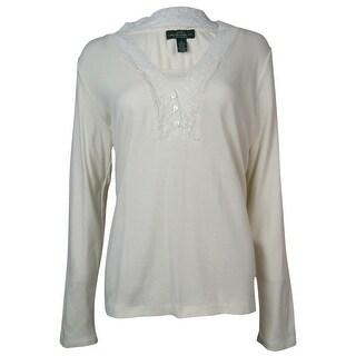 LRL Lauren Jeans Co. Women's Lace Trim Long Sleeves Knit Top - s