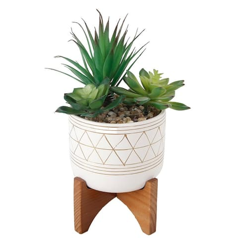 """Artificial Plant Succulent IN GOLD HANDPIANT 5"""" CERAMIC FOOTED STAND - ONE-SIZE"""