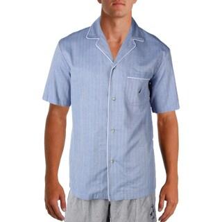 Nautica Sleepwear Mens Sleep Shirt Contrast Trim Sleepwear - S