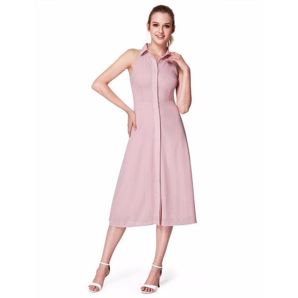 a91aac62920 Alisapan Women  x27 s Pink Tea Length Stand-up Collar Sleeveless Casual  Dresses