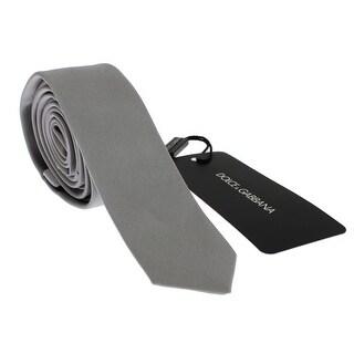 Dolce & Gabbana Gray Silver Solid Silk Skinny Slim Tie - One size