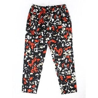 Calvin Klein NEW Black Red Women Size Medium M Printed Drawstring Pants