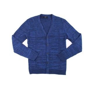 Alfani NEW Neo Navy Blue Men Size Medium M Stripe Knit Cardigan Sweater