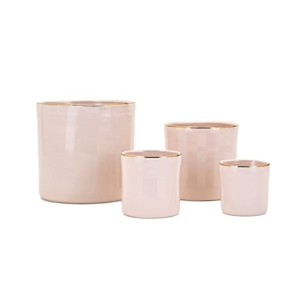 """Set of 4 Pink Beatha Real Gold Trim Planters 8"""" - N/A"""