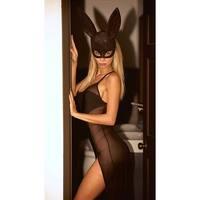 Glam Masquerade Rabbit Mask, Hoty Glitter Rabbit Mask - Black - One Size Fits most