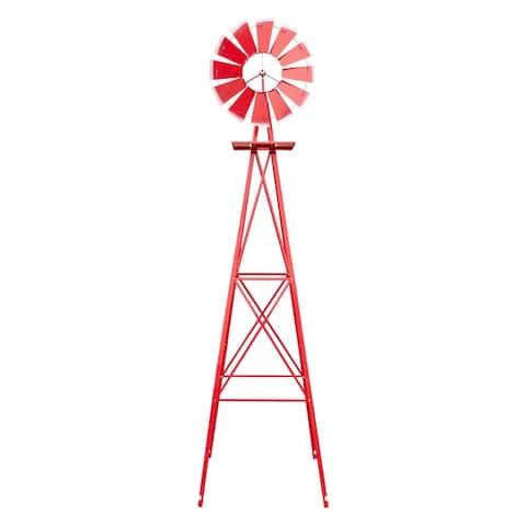 8FT Weather Resistant Yard Garden Windmill Blue
