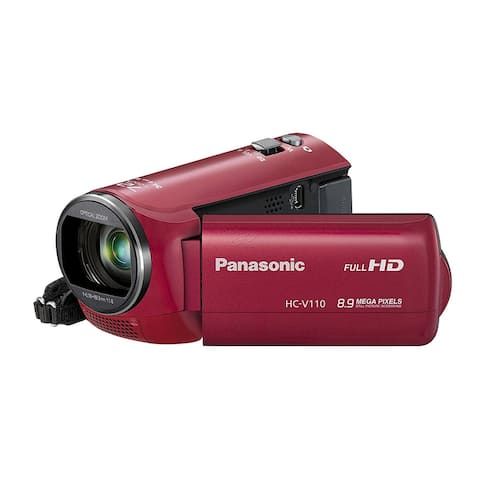 Panasonic HC-V110P-R 38X Optical Zoom 8.9 MP Still Image HD Camcorder (Red)