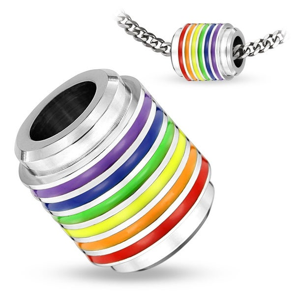 Rainbow Striped Hollow Cylinder Stainless Steel Pendant (14.8 mm Width)
