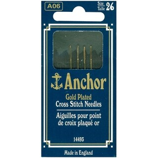 Anchor Gold-Plated Cross Stitch Needles-Size 26 4/Pkg - GOLD