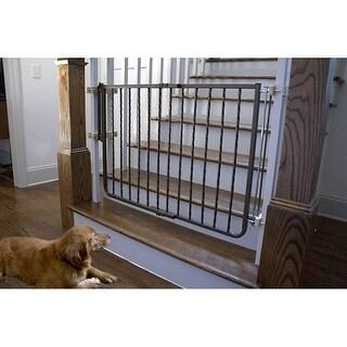 Wrought Iron Decor Dog Gate - Black