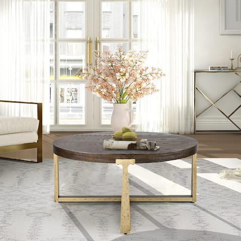 """Modern Farmhouse 36'' Wood Round Coffee Table with Gold Metal Base for Living Room - 36"""" L x 36"""" W x 16"""" H"""