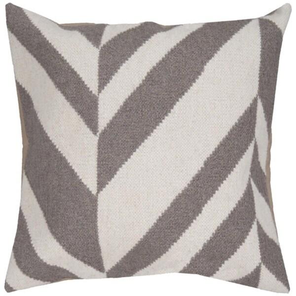 """18"""" Elephant Gray and Winter White Chevron Decorative Down Throw Pillow"""