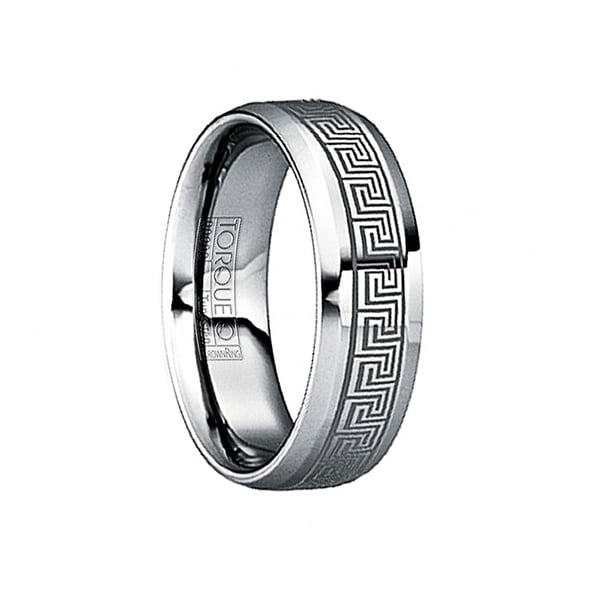 MAXIMILIANUS Engraved Greek Key Tungsten Wedding Ring with Beveled Edges by Crown Ring - 6mm