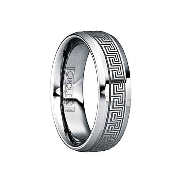 MAXIMILIANUS Engraved Greek Key Tungsten Wedding Ring with Beveled Edges by Crown Ring