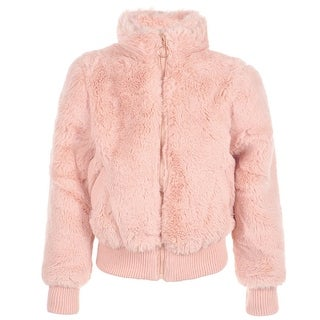 Urban Republic Girls Pink Solid Color Plush Soft Zippered Jacket