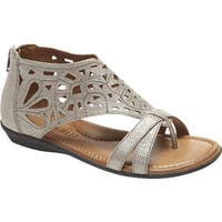 Rockport Women's Cobb Hill Jordan Thong Sandal Pewter Full Grain Leather