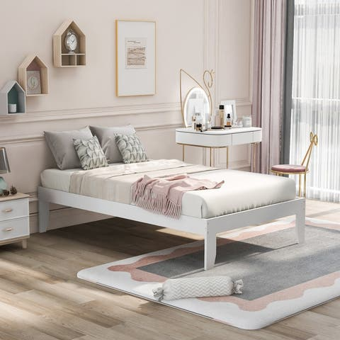 AOOLIVE Platform Bed with Pine Wood, No Box Spring Needed, Twin, White