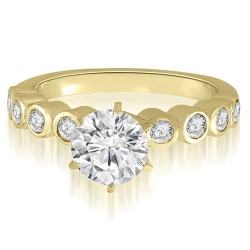 0.95 cttw. 14K Yellow Gold Bezel Set Round Cut Diamond Engagement Ring