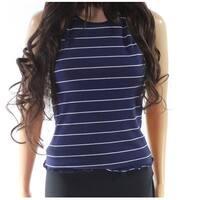 Lush Blue Junior's Size Large L Striped Scoop Neck Tank Cami Top