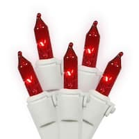 Set of 100 Red Mini Christmas Lights - White Wire
