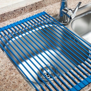 Dish Drying Rack ,Kitchen Dish Strainer With Silicone-coated Steel