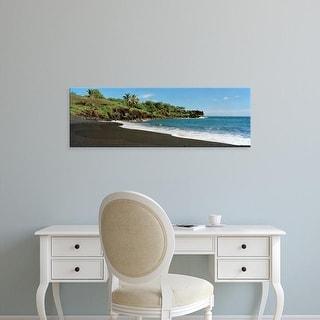 Easy Art Prints Panoramic Images's 'Surf on the beach, Black Sand Beach, Maui, Hawaii, USA' Premium Canvas Art