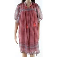 Lucky Brand Orange Womens Size Small S Split Neck Shift Dress