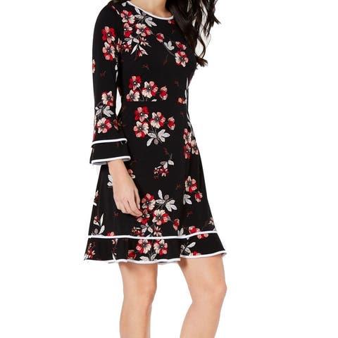 Alfani Women's Dress Black Size 10 Sheath Floral Tiered Bell Sleeve