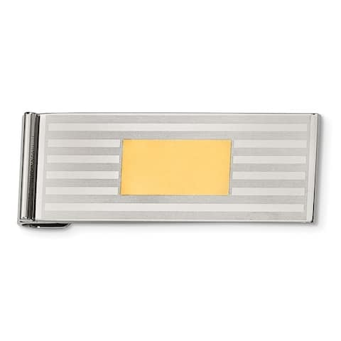 Chisel Srm129 Stainless Steel Brushed & Polished Yellow Ip-Plated Money Clip
