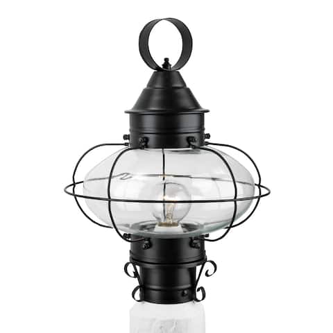 """Norwell Lighting 1321 Cottage Onion Single Light 15"""" Tall Outdoor Pier Mount Light with Clear Glass Shade"""