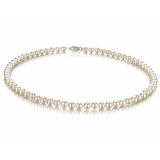Bling Jewelry White 7mm Freshwater Cultured Pearl Classic Bridal .925 Sterling Silver Necklace