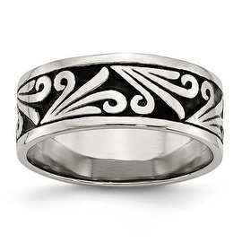 Chisel Stainless Steel Fancy Design Antiqued Band (8 mm)