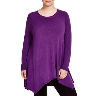 Eileen Fisher Womens Plus Tunic Sweater Asymmetric Hem Round Neck